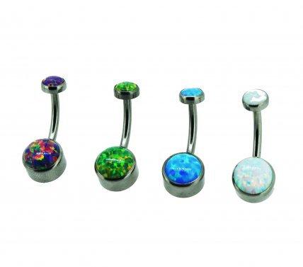 QualiTi - (4 Colours) Titanium Opal Navel Curve