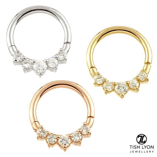 Tish Lyon - 14ct Gold - Front Facing Gem Hinged Ring