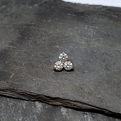 Anatometal - Trio End - Rose Gold and Clear CZ
