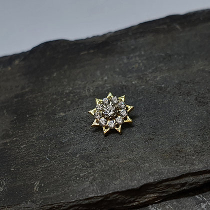 Anatometal - Miro Starburst Flower - Yellow Gold with Champagne and Clear CZ