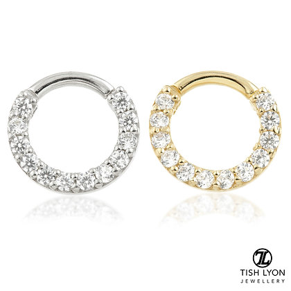 Tish Lyon - 9/14ct Gold - Front Facing Pave Gem Hinged Ring