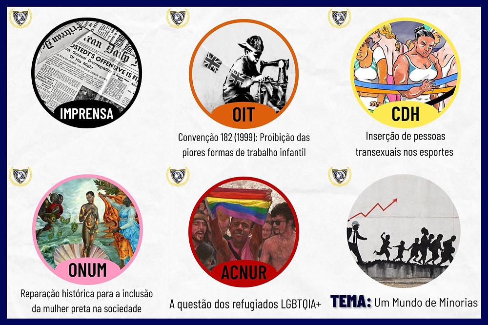 Tema: Um Mundo de Minorias. Comitês: A questão dos refugiados LGBTQIA+, Reparação história para a inclusão da mulher preta na sociedade, Inserção de pessoas transexuais nos esportes, Convenção 182 (1999): Proibição das piores formas de trabalho infantil e Imprensa