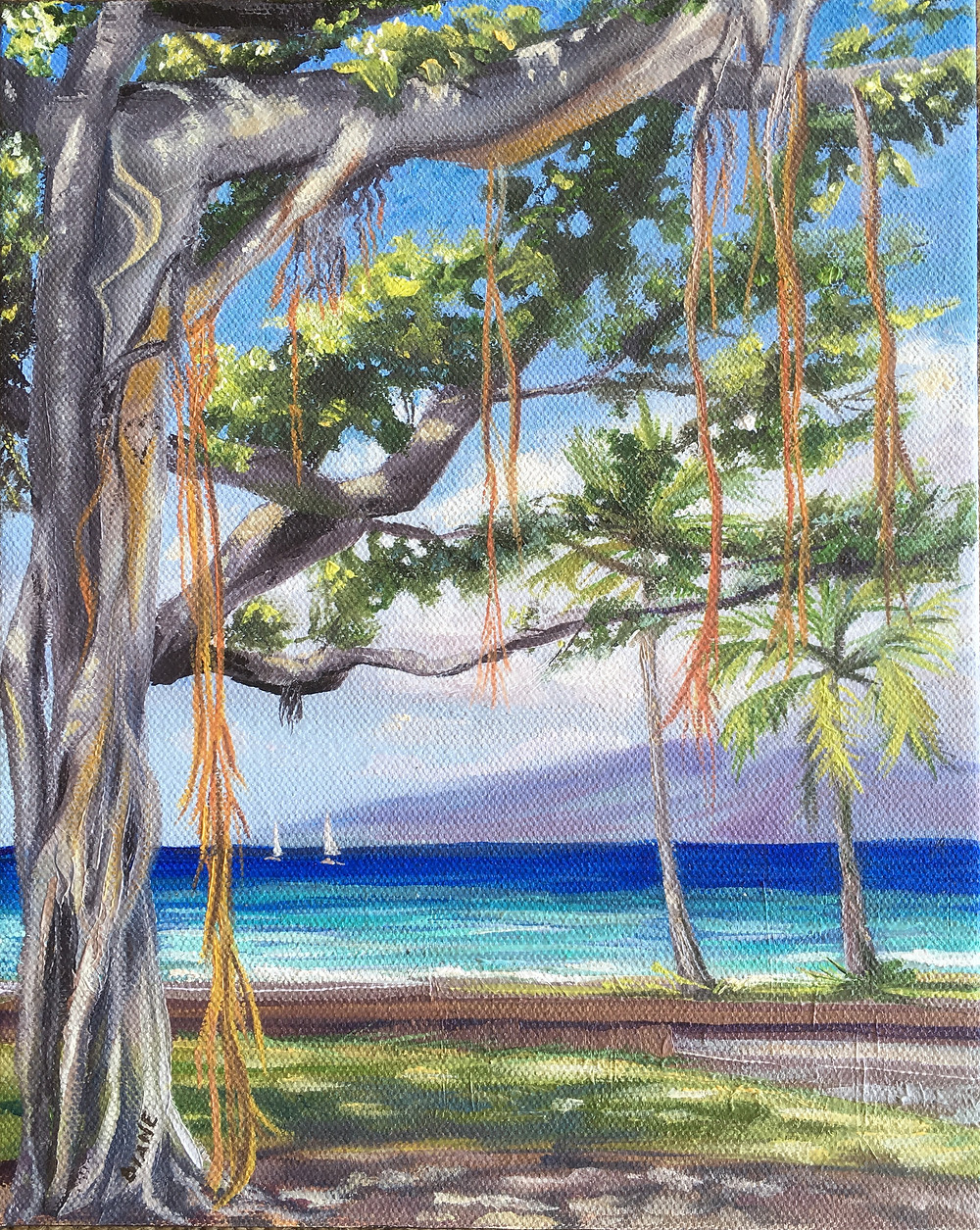 I see Picasso in the Banyan Tree oil painting by Diane Snoey Appler