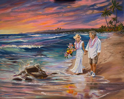 Wedding Sunset at Oneloa Beach Kevin and