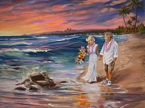 Wedding Sunset Oneloa Beach--I can place you in this scene instead