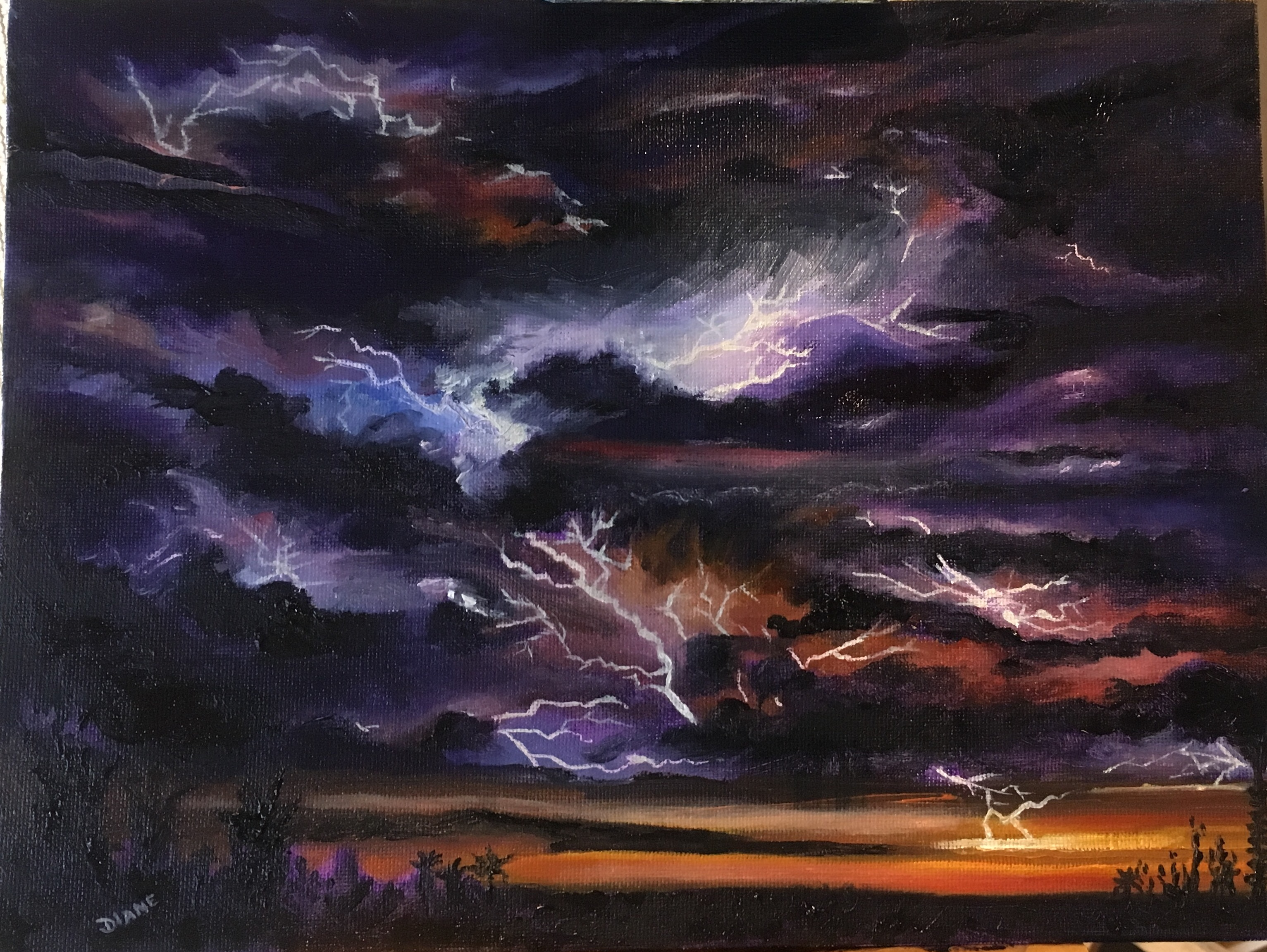 Sunset Lightning 9 x 12