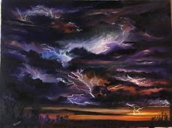 Sunset Lightning 9 x 12
