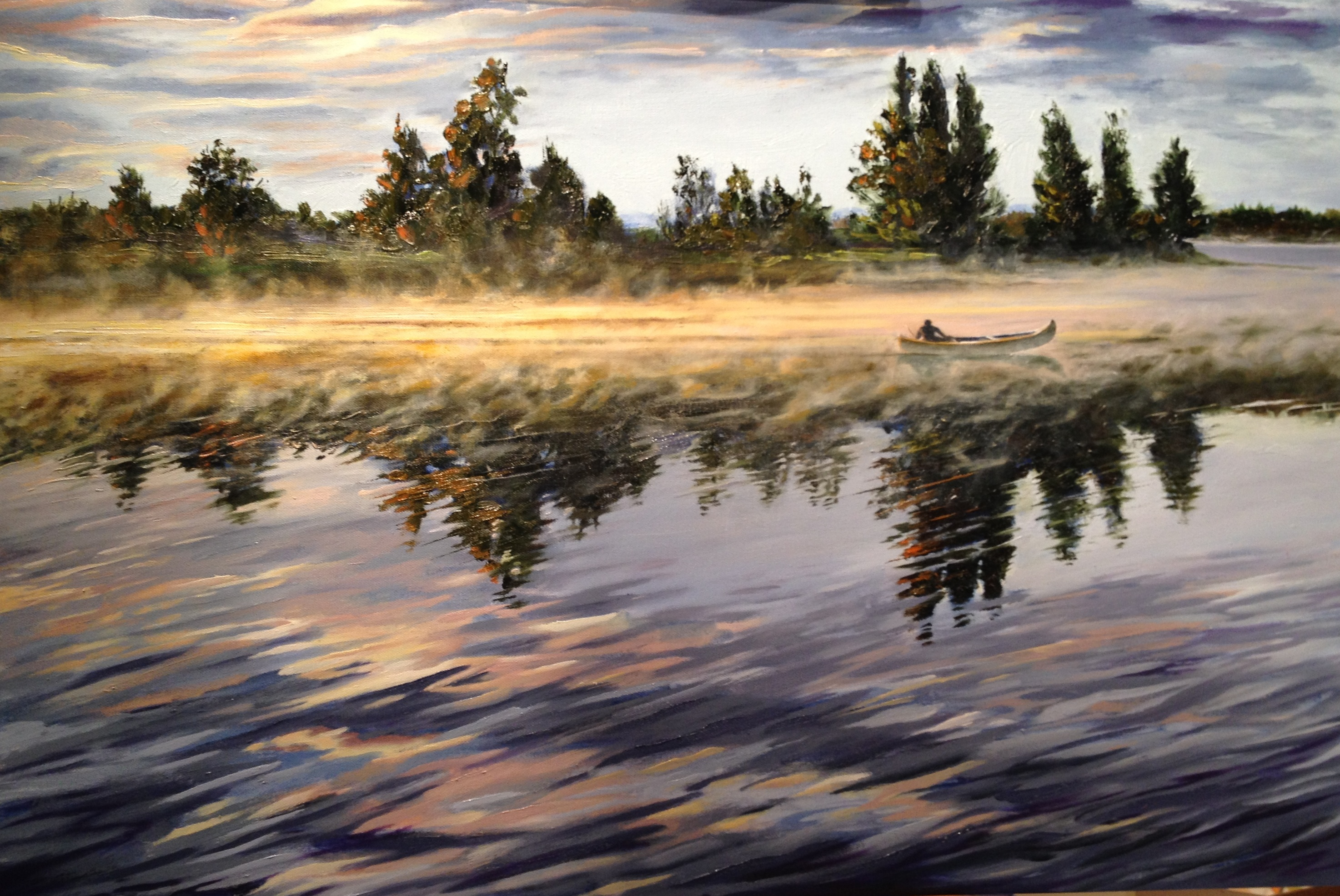 Sunrise with Yellow Canoe 24 x 36