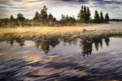 Sunrise with Yellow Canoe 24 x 36