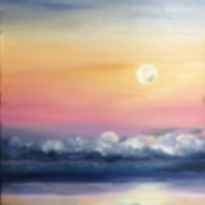 "Oil Painting by Diane Snoey Appler ""Moonsetting at Sunrise"" in Maui"