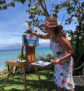 Painting 'en plein air' at Honokowai, Maui