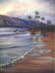 """Reflection on Keawakapu Beach"" 30 x 40 Original oil painting now in private collection"