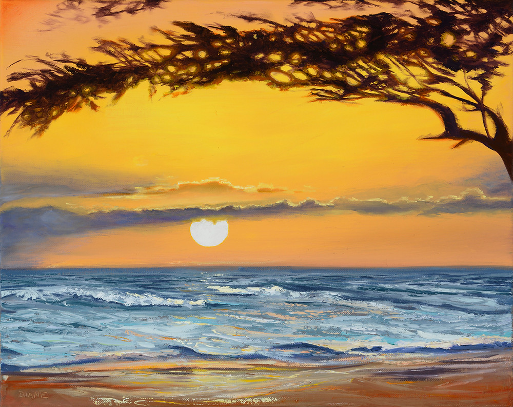 Thankful for another Maui Sunset painting by Diane Snoey Appler maui Hawaii commissions the day of the missile alert