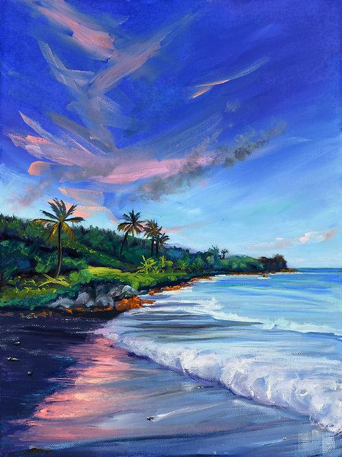 Black Sand Beach Sunset- Waianapanapa Hana Maui  -starting from