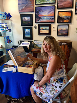 Diane painting as artist in residence Maui Hands Lahaina May 2018