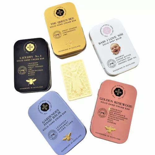 solid hand cream moisturiser bars in reusable tins