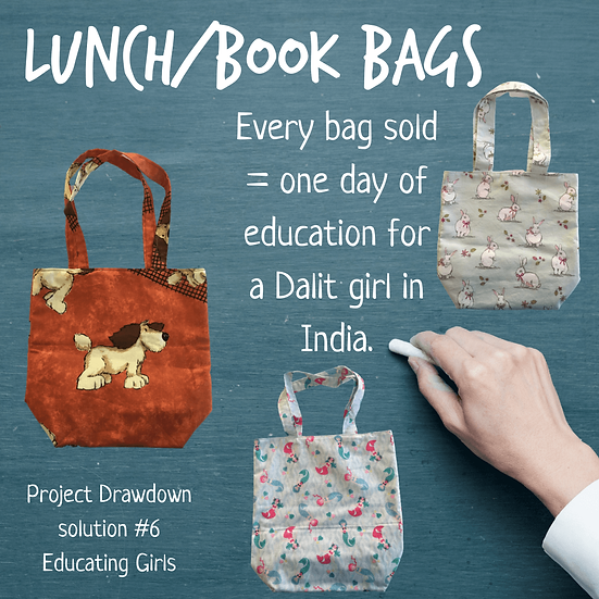 For every lunch/book bag sold we provide sponsorship for one day of education for a Dalit girl in India