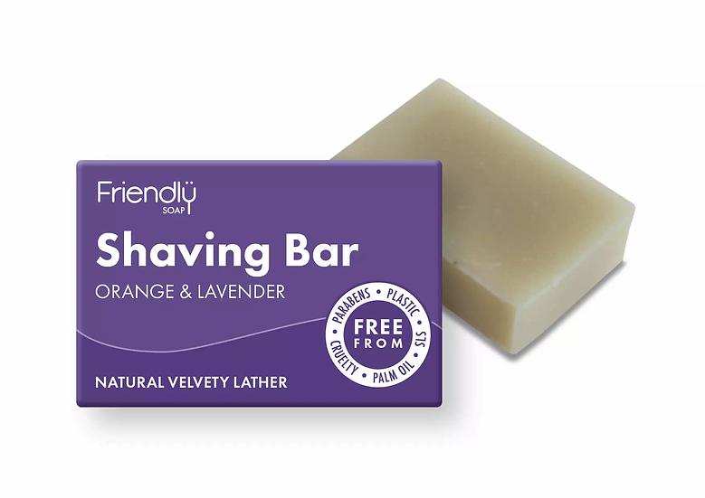 orange and lavender solid shaving soap bar in cardboard packaging