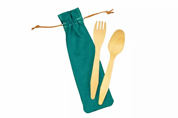 reusable cutlery case with birch wood cutlery for lunches on the go