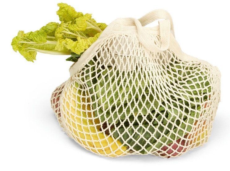 short handled string bag containing fresh produce