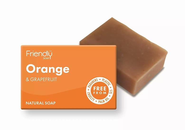 orange and grapefruit soap bar in cardboard packaging