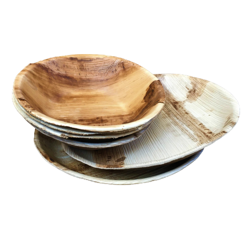 palm leaf plates and bowls plastic-free party tableware