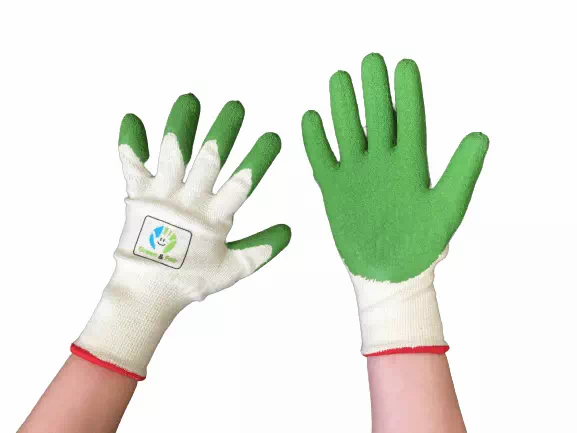 organic cotton and natural rubber plastic-free gardening gloves