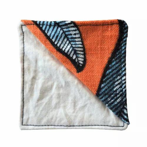 scrap fabric bookmark orange with blue leaves