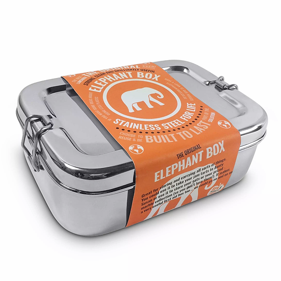 elephant box reusable stainless steel lunch box with cardboard sleeve packaging