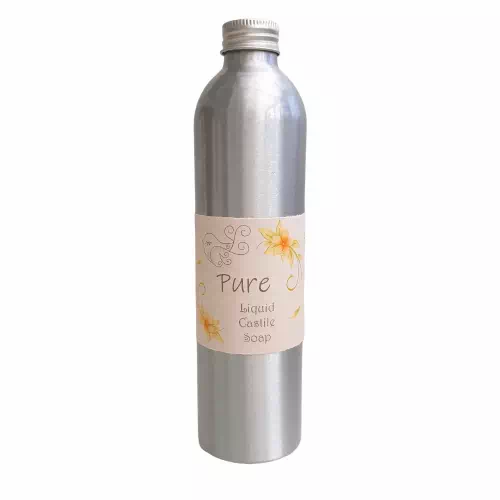 pure fragrance-free liquid castile soap in metal bottle