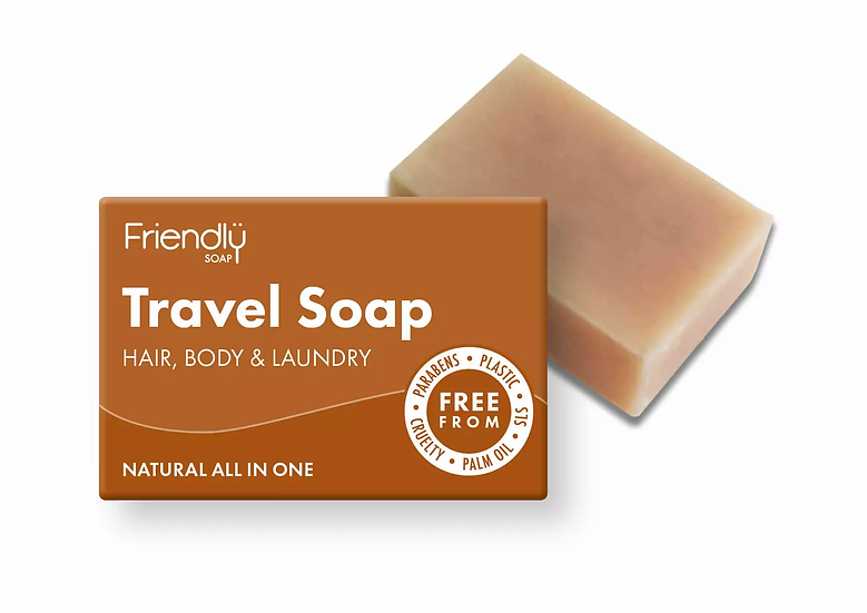 solid travel soap bar for hair, body and laundry in cardboard packaging