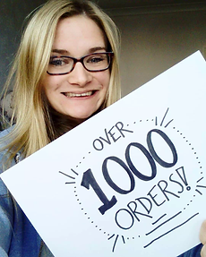 Jenny celebrating reaching 1000 orders
