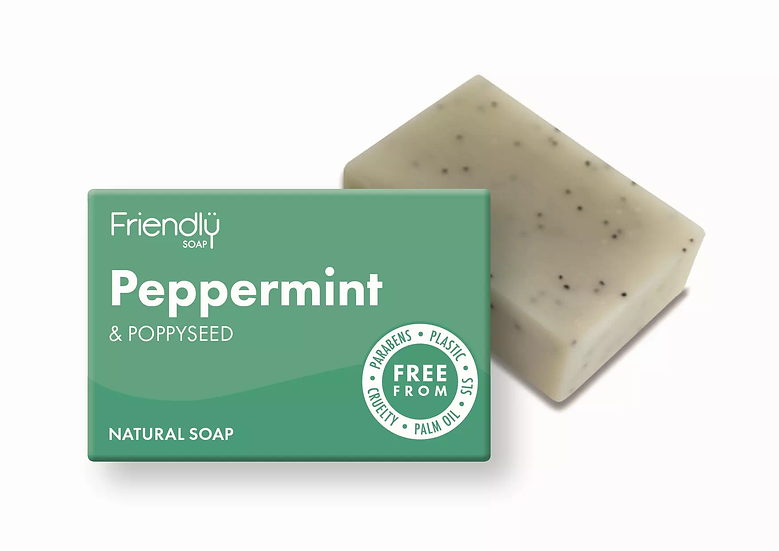 peppermint and poppy seed soap bar in cardboard packaging