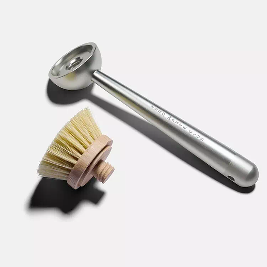 reusable metal dish brush with replaceable bamboo heads