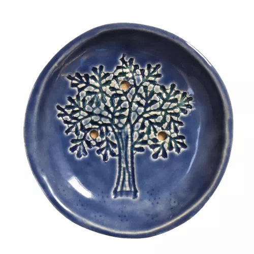 circular ceramic soap dish tree design in wedgewood blue