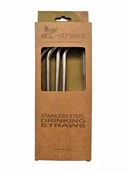 four stainless steel metal drinking straws in cardboard packaging with straw cleaner