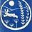 running hare in blue lino print design