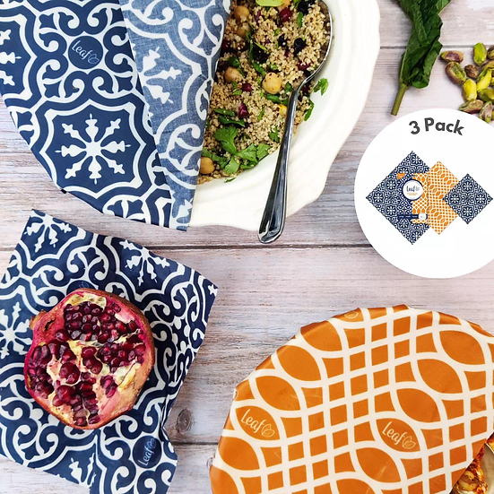 3 pack of vegan wax wraps in use covering Moroccan food