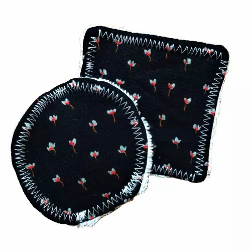 black with flower patterned set of two make up remover pads