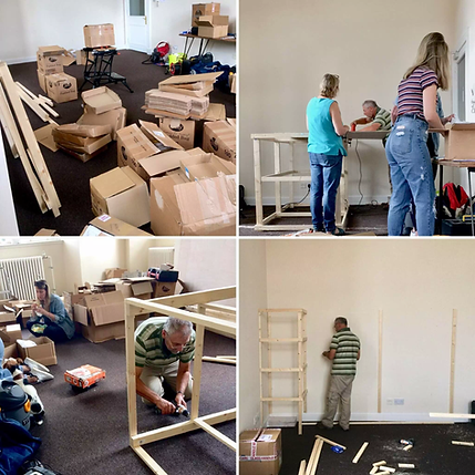 a collage of photos showing Jenny's family and Team ABP building the new office