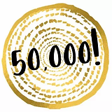 badge celebrating 50,000 products sold