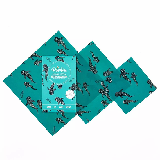beeswax wraps whale shark design pack of 3