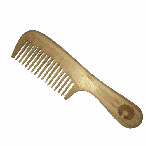 plastic-free wide-tooth bamboo comb