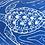 hawksbill turtle in blue lino print design
