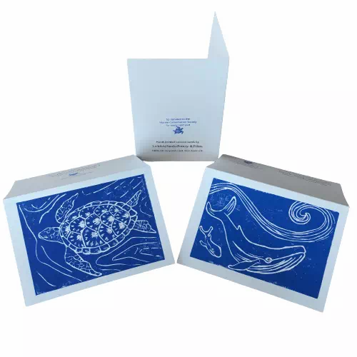 endangered animals themed lino print cards