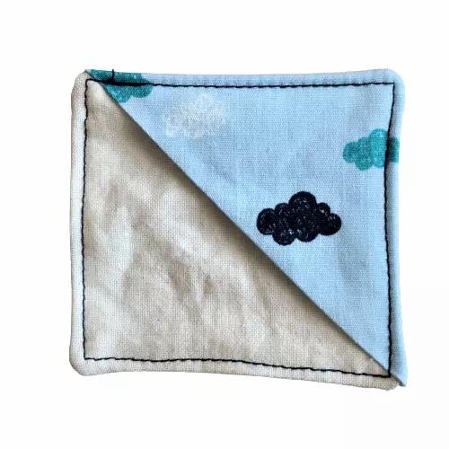 scrap fabric bookmark light blue clouds pattern