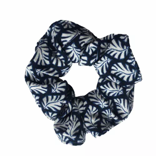eco-friendly scrunchie with upcycled bobble and navy leaves design