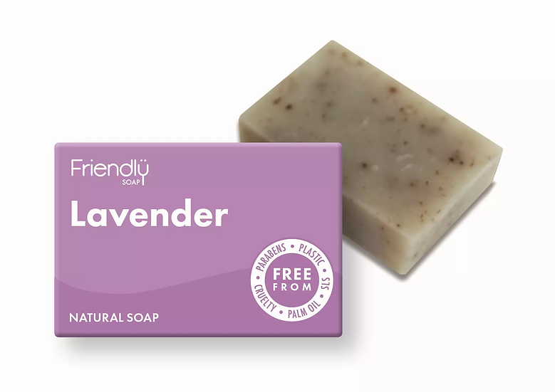 lavender natural soap bar in cardboard packaging