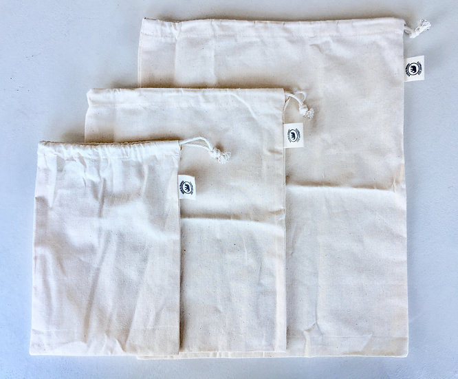 organic cotton reusable drawstring produce bags pack of three