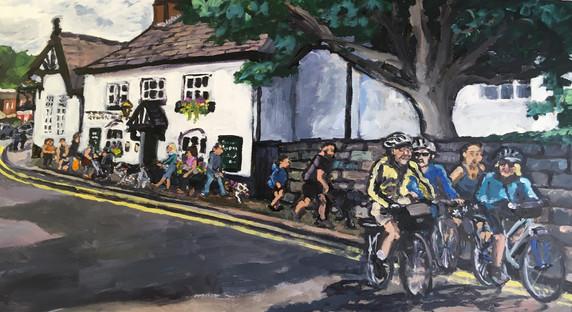 Cycling through the village 10 x 20 inch